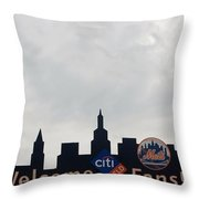New York Mets Skyline Throw Pillow by Rob Hans