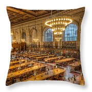 New York Public Library Main Reading Room Ix Throw Pillow by Clarence Holmes