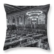 New York Public Library Main Reading Room X Throw Pillow by Clarence Holmes