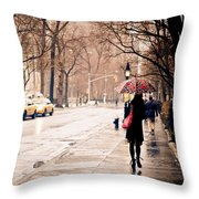 New York Rain - Greenwich Village Throw Pillow by Vivienne Gucwa