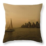 New York Sailing At Sunset Throw Pillow by Avis  Noelle