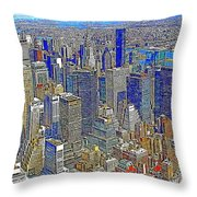 New York Skyline 20130430v4-square Throw Pillow by Wingsdomain Art and Photography