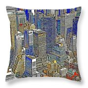 New York Skyline 20130430v5-square Throw Pillow by Wingsdomain Art and Photography