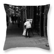 New York Street Photography 26 Throw Pillow by Frank Romeo