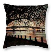 Newburgh Beacon Bridge Sunset Throw Pillow by Janine Riley