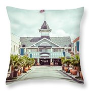 Newport Beach Balboa Main Street Vintage Picture Throw Pillow by Paul Velgos