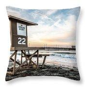 Newport Beach Pier And Lifeguard Tower 22 Photo Throw Pillow by Paul Velgos