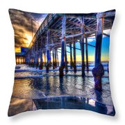 Newport Beach Pier - Low Tide Throw Pillow by Jim Carrell
