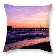 Newport Beach Pier Sunset In Orange County California Throw Pillow by Paul Velgos