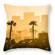 Newport Beach Skyline Morning Sunrise Picture Throw Pillow by Paul Velgos