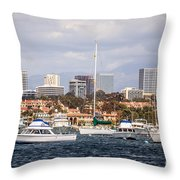 Newport Beach Skyline  Throw Pillow by Paul Velgos