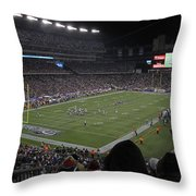 Nfl Patriots And Tom Brady Showtime Throw Pillow by Juergen Roth