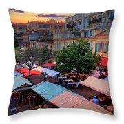Nice Flower Market Throw Pillow by Inge Johnsson
