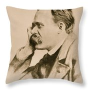 Nietzsche Throw Pillow by Anonymous