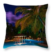 Night at Tropical Resort Throw Pillow by Jenny Rainbow