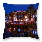 Night Lights On The Amsterdam Canals. Holland Throw Pillow by Jenny Rainbow