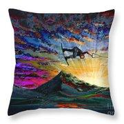 Night Ride Throw Pillow by Teshia Art