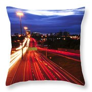 Night Traffic Throw Pillow by Elena Elisseeva