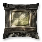 No One's Watching - Vintage Television in an old barn Throw Pillow by Gary Heller