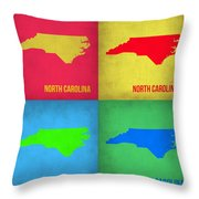 North Carolina Pop Art Map 1 Throw Pillow by Naxart Studio