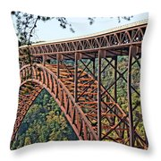 Northeast Close-up Of New River Gorge Bridge Throw Pillow by Timothy Connard