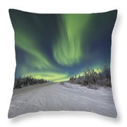 Northern Lights Dancing Over The James Throw Pillow by Lucas Payne