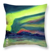 Northern Lights On Superior Shores Throw Pillow by Kathy Braud
