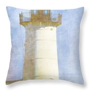 Nubble Lighthouse Throw Pillow by Carol Leigh