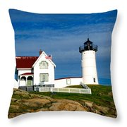 Nubble Lighthouse Throw Pillow by Charles Dobbs