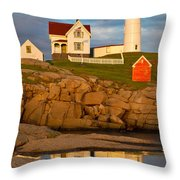 Nubble Lighthouse No 1 Throw Pillow by Jerry Fornarotto