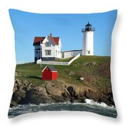 Nubble Lighthouse One Throw Pillow by Barbara McDevitt
