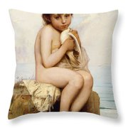 Nude Child With Dove Throw Pillow by Leon Bazile Perrault