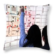 Nuit Blanche Map Throw Pillow by Valentino Visentini