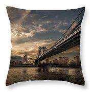 Nyc - Manhatten Bridge - Hdr- Sun Throw Pillow by Hannes Cmarits
