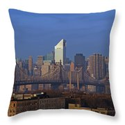 Nyc Citicorp Center And Queensboro Bridge Throw Pillow by Juergen Roth