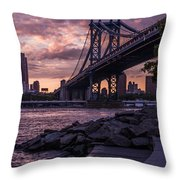 Nyc- Manhatten Bridge At Night Throw Pillow by Hannes Cmarits