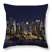 Nyc Skyline Full Moon Panorama Throw Pillow by Susan Candelario