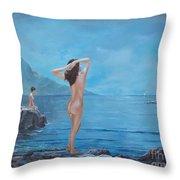 Nymphs Throw Pillow by Sinisa Saratlic