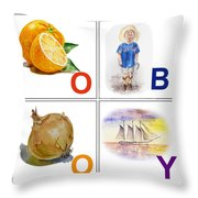 O Boy Art Alphabet For Kids Room Throw Pillow by Irina Sztukowski