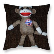 Obama Sock Monkey Throw Pillow by Rob Hans