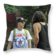 Obey Throw Pillow by Minnie Lippiatt
