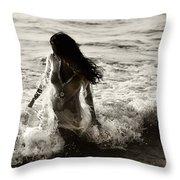Ocean Mermaid Throw Pillow by Jenny Rainbow