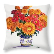October Chrysanthemums Throw Pillow by Christopher Ryland