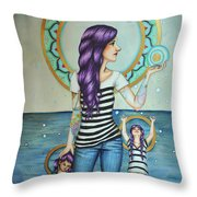 Of the Sea Throw Pillow by Lucy Stephens
