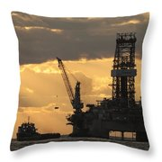 Offshore Rig At Dawn Throw Pillow by Bradford Martin