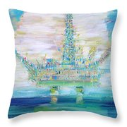 OIL PLATFORM Throw Pillow by Fabrizio Cassetta