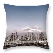Oil Refinery Throw Pillow by Olivier Le Queinec