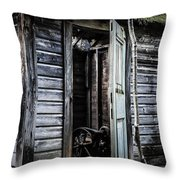Old Abandoned Well House With Door Ajar Throw Pillow by Edward Fielding