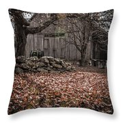 Old Barn In Autumn Throw Pillow by Edward Fielding