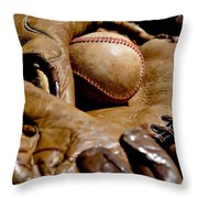 Old Baseball Ball And Gloves Throw Pillow by Art Block Collections